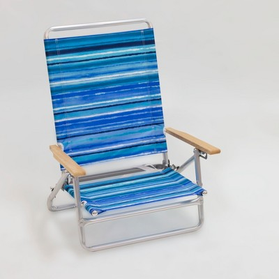 Outdoor Portable Beach Chair   Blue/White Stripe   Evergreen