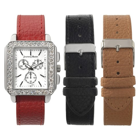 Women's Journee Collection Rhinestone Accented Square Face Watch - Brown - image 1 of 2
