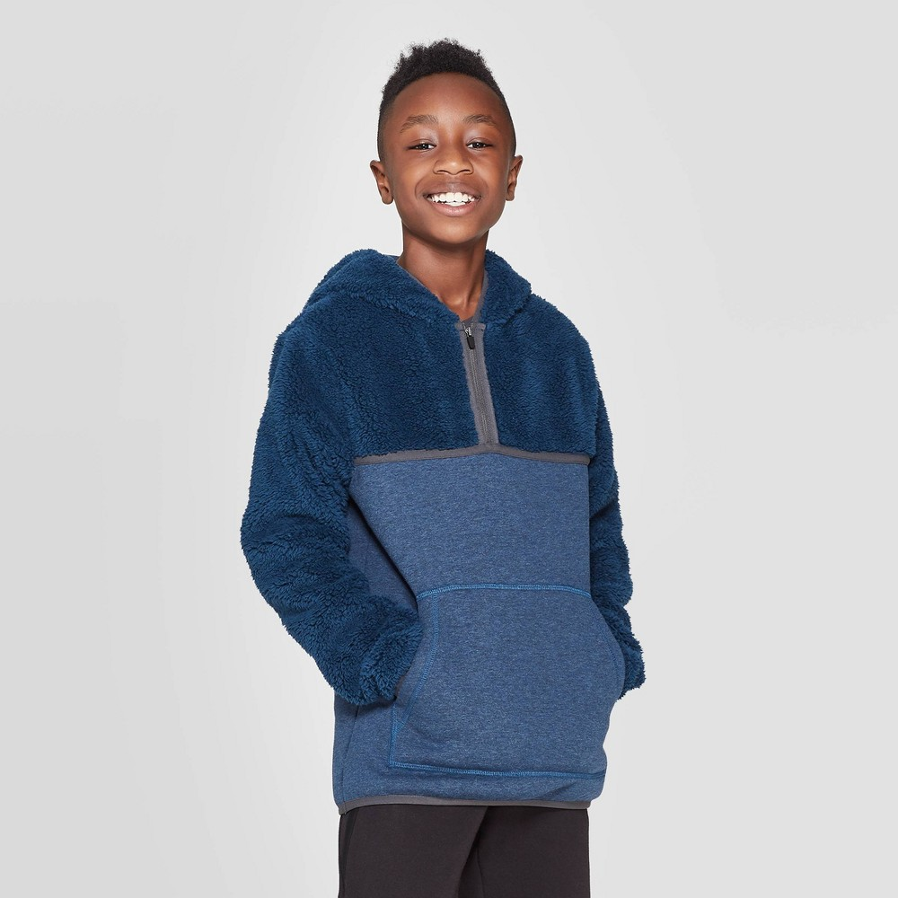 Image of Boys' Half Zip Sherpa Fleece Hoodie - C9 Champion Blue L, Boy's, Size: Large