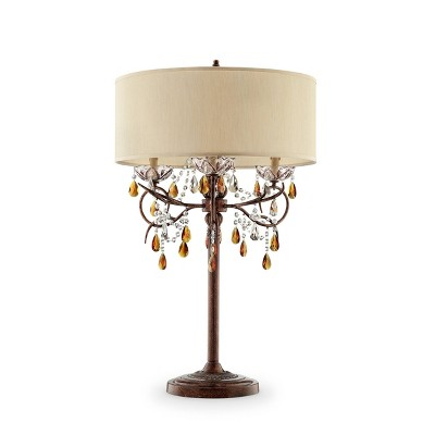 "36.25"" Antique Metal Table Lamp with Crystals Brown - Ore International"