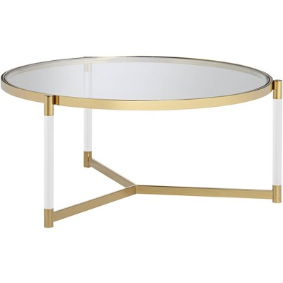 "55 Downing Street Stefania 36"" Wide Gold and Acrylic Modern Coffee Table"