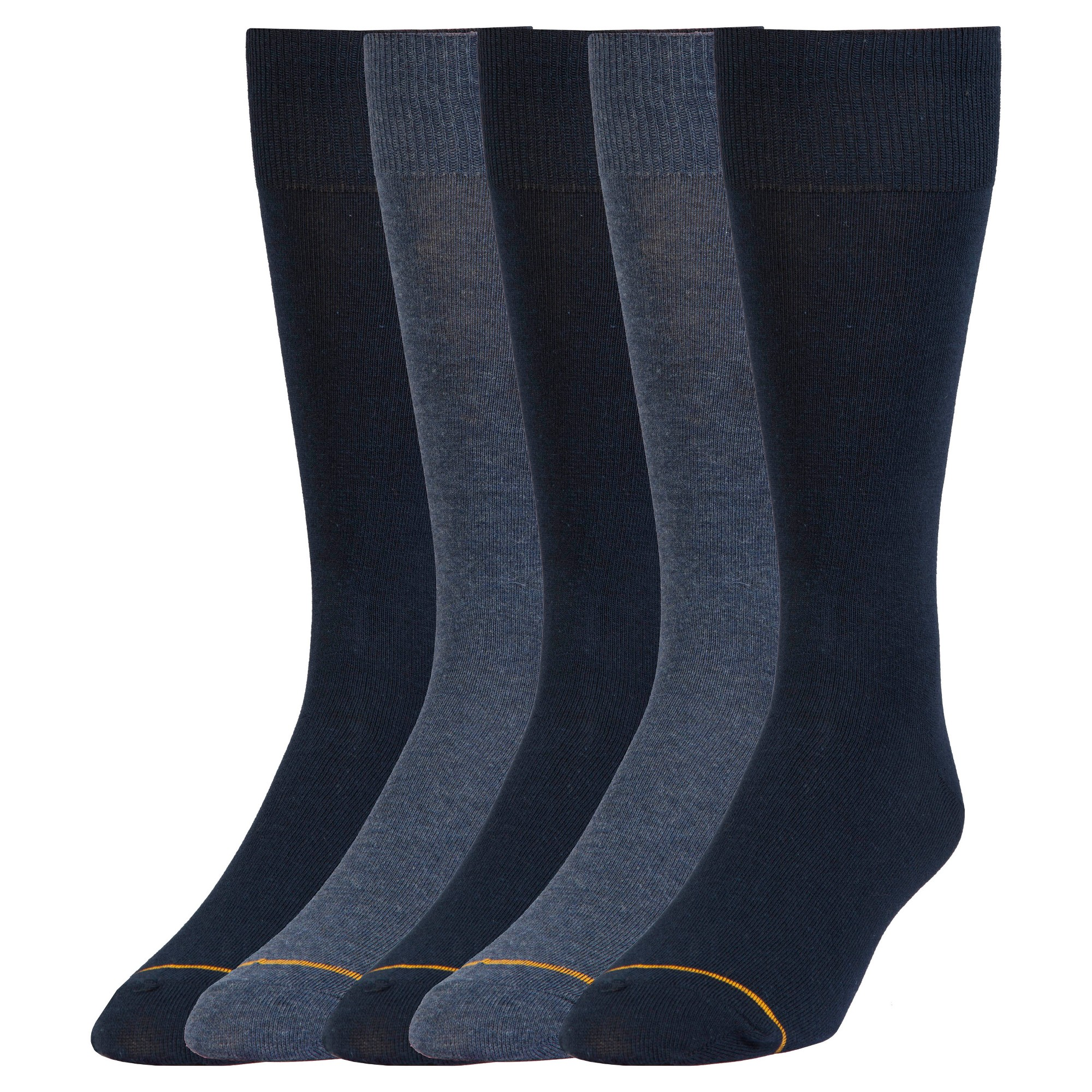 Signature Gold by GOLDTOE Men's Flatknit Crew Socks 5pk - Navy 6-12, Men's, Size: Small, Blue