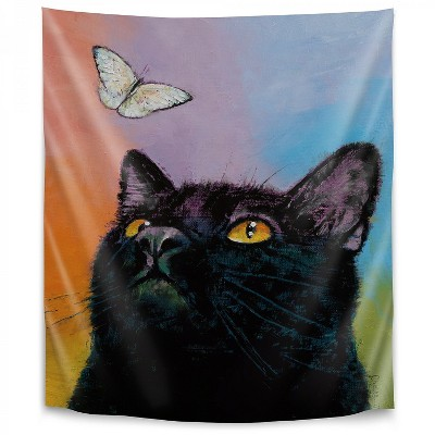 Americanflat Black Cat Butterfly by Michael Creese Wall Tapestry