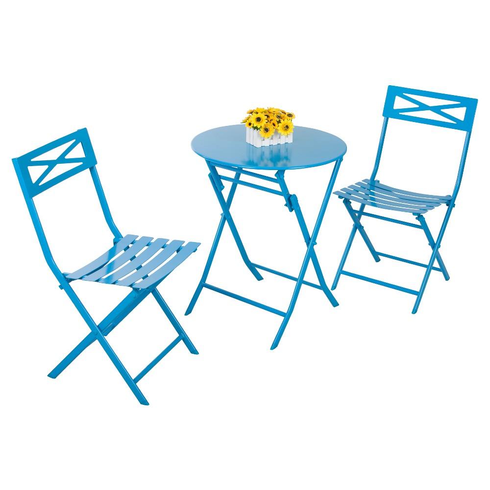 Image of 3 - Piece Folding Metal Bistro Set - Blue - Captiva Design