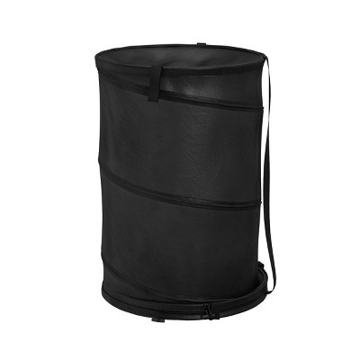 Hastings Home Pop Up Collapsible Laundry Hamper With Carrying Straps and Zipper - Black