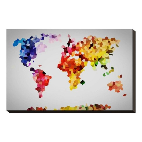 Colorful World Map Unframed Wall Canvas - Art.com - image 1 of 2
