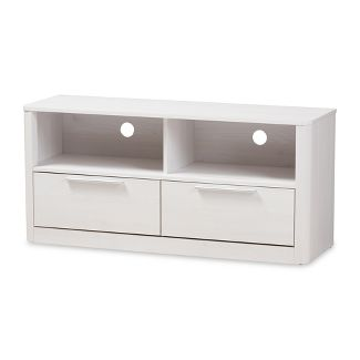 Carlingford Modern and Contemporary Whitewashed Wood 2 Drawer TV Stand White - Baxton Studio
