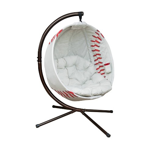 Baseball Hanging Patio Lounge Chair with Stand - White - FlowerHouse - image 1 of 2