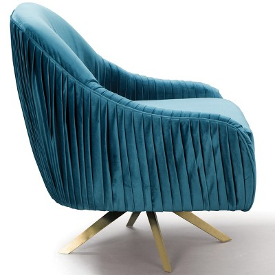 Berkley Home Pleated Mid Century Upholstered Swivel Chair Blue/Gold   Fox  Hill Trading : Target