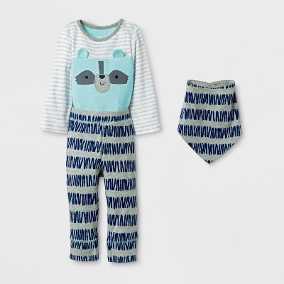 Baby Boys' 3pc Raccoon Bodysuit, Pants and Bib Set Cloud Island™ - Blue 0-3M