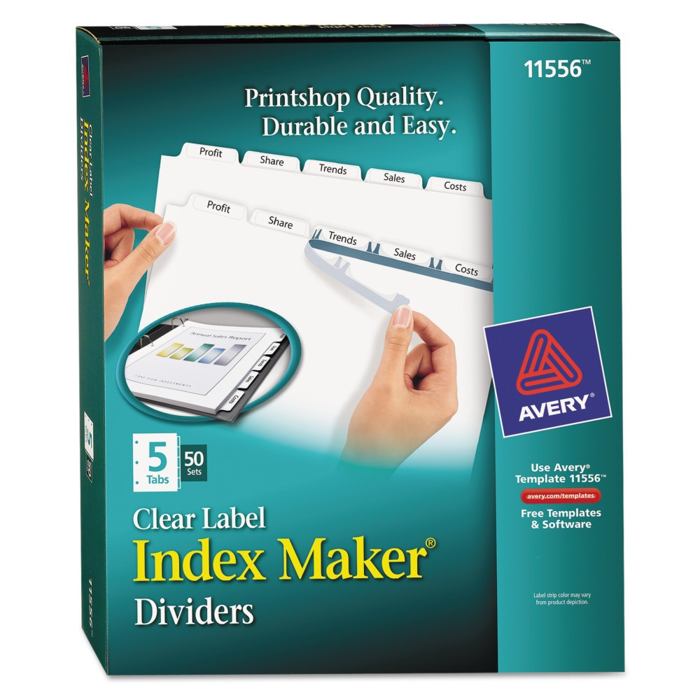 Avery Punched Index Maker Label Divider with 5 Tab-Letter - (50 Sets Per Pack), White