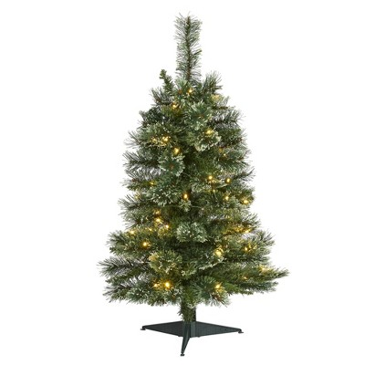 3ft Nearly Natural Pre-Lit LED Wisconsin Snow Tip Pine Artificial Christmas Tree Clear Lights