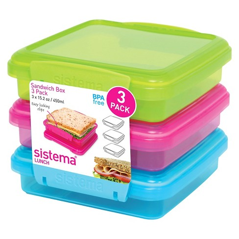 Sistema Klip It 3pk 15.2oz Color  Sandwich Box - image 1 of 4