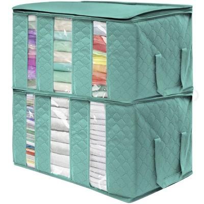 "Sorbus 2pk 3 Sectional 24""x14""x11"" Foldable Fabric Storage Organizer Bag Teal"