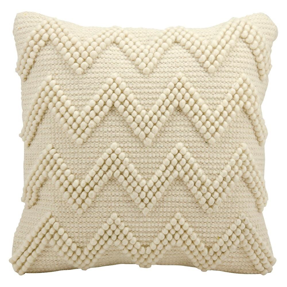 "Image of ""Ivory Large Chevron Throw Pillow (20""""x20"""") - Nourison"""