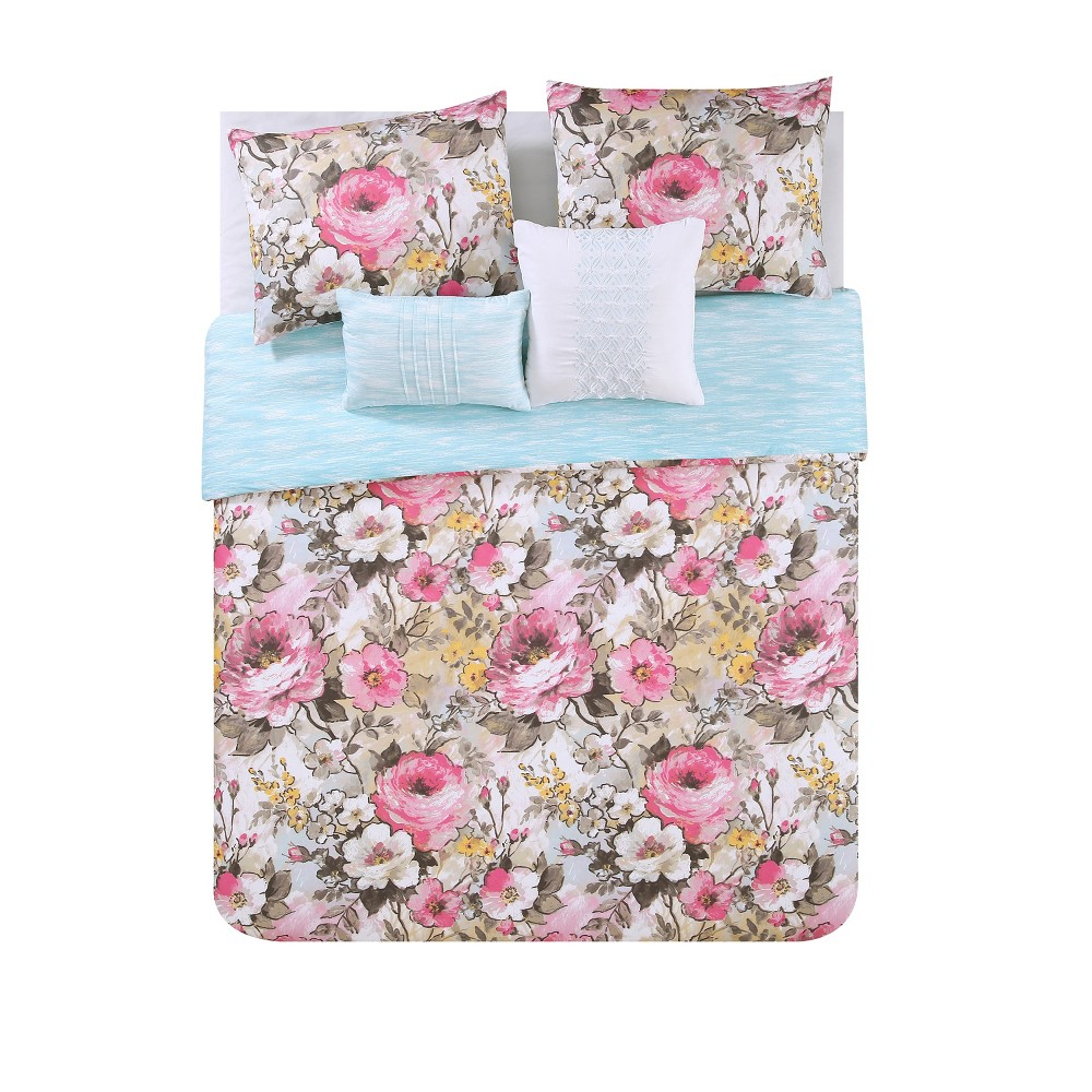 5pc Full/Queen Lucia Printed Floral Reversible Duvet Cover Set - Vcny Home, Multicolored