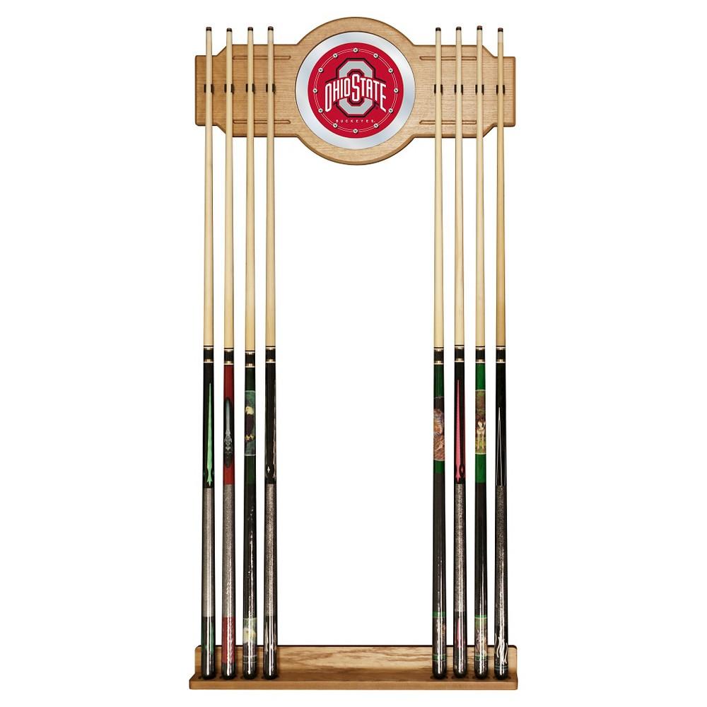 NCAA Ohio State Buckeyes Wood & Mirror Wall Cue Rack 2pc