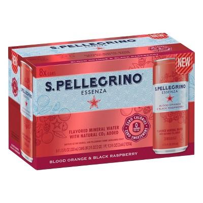 S.Pellegrino Essenza Blood Orange and Black Raspberry Sparkling Natural Mineral Water - 8pk/11.15 fl oz Cans