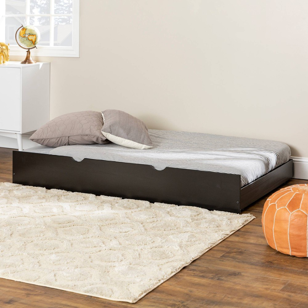 Twin Solid Wood Trundle Bed Black Saracina Home
