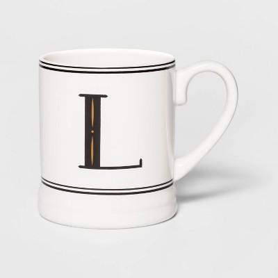 16oz Stoneware Monogram Mug Cream L - Threshold™