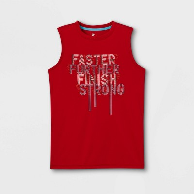Boys' Sleeveless 'Faster Further Finish Strong' Graphic T-Shirt - All in Motion™ Red