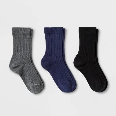 Kids' 3pk Dress Socks - Cat & Jack™ Gray/Black/Navy