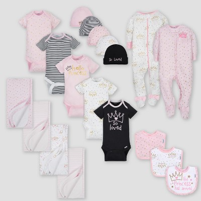 Gerber Baby Girls' 19pc Princess Layette Gift Set - Pink 0-3M