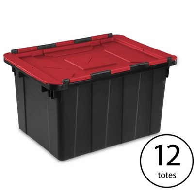 Sterilite 12 Gallon/45 Liter Hinged Lid Industrial Tote, Red Lid (12 Pack)