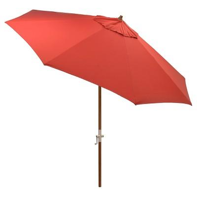 8.9' x 8.9' Round Sunbrella® Umbrella - Canvas Jockey Red - Medium Wood Finish - Smith & Hawken™