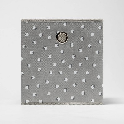 """11"""" Fabric Cube Storage Bin Gray and White Shdw Dot - Room Essentials™"""