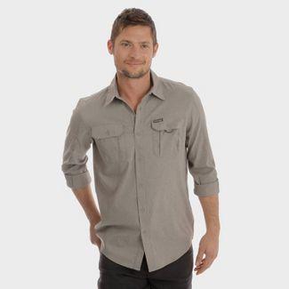 Wrangler Men's Long Sleeve Canvas Outdoor Camp Shirt - Dark Gray XL