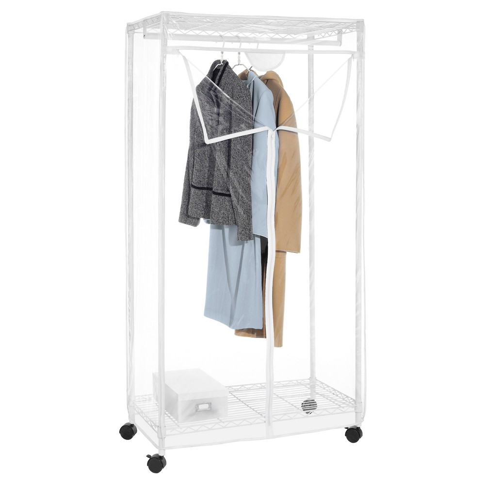 Whitmor Supreme Clothes Closet White, Gray White Add extra storage space to any room instantly with the Whitmor Clothes Closet. This large, portable wardrobe is ideal for short or long-term storage. The clear closet is made with a heavy-duty, epoxy-coated steel frame and a see-through cover equipped with an easy-access, 3-way zipper. The unit has large shelves that can easily accommodate shoes, hat boxes and other larger, bulkier items. The zippered closet comes with wheels for easy mobility. It can be assembled easily for immediate use. Color: Gray White. Pattern: Solid.