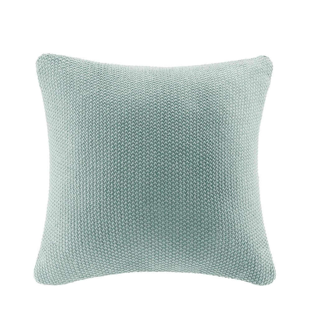 "Image of ""Bree Knit Throw Pillow Aqua, Size: 20""""x20"""", Blue"""