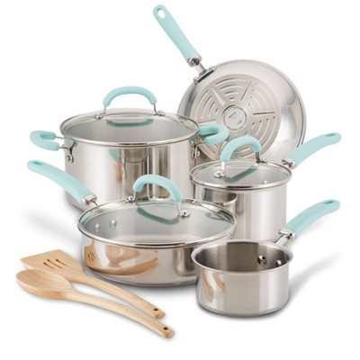 Rachael Ray Create Delicious 10pc Stainless Steel Cookware Set Light Blue Handles