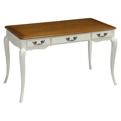 French Countryside Writing Desk Oak/White - Home Styles - image 1 of 3