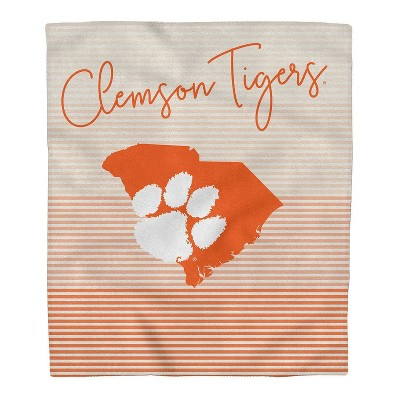 NCAA Clemson Tigers Ultra Fleece State Stripe Blanket