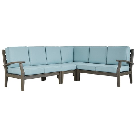 Parkview Wood Patio 6-Seat Sectional with Cushions - Gray/Blue - Inspire Q - image 1 of 1