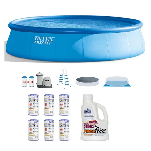 Intex 18ft x 48in Inflatable Pool Set w/ Filter (6 pk) & Natural Chemistry - image 1 of 4