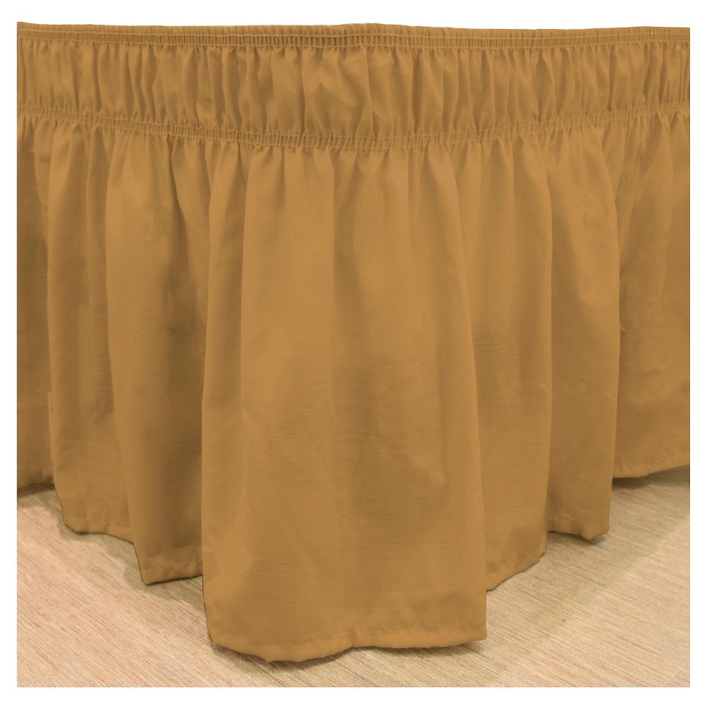 """Image of """"Gold Wrap Around Solid Ruffled Bed Skirt (Queen/King) (80"""""""" X 60"""""""") - EasyFit"""""""