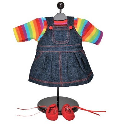 The Queen's Treasures 15 Inch Baby Doll Clothes, Twin 4pc Bitty Denim Skirts, Rainbow Shirt, Bitty Shoes