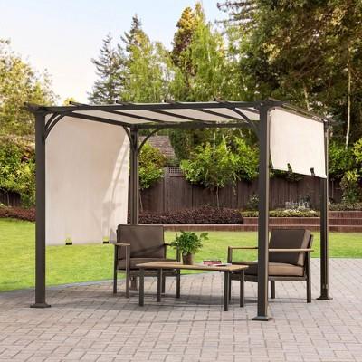 8'x8' Adjustable Shade Pergola Outdoor Replacement Canopy - Beige - Sunjoy