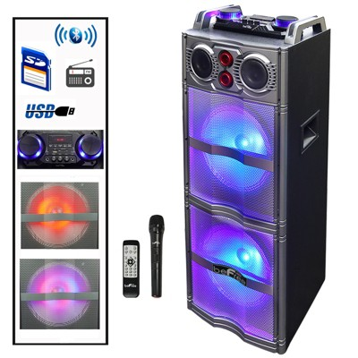 beFree Sound Double 10 Inch Subwoofer Portable Bluetooth Party Speaker