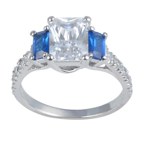 2 1/2 CT. T.W. Square-Cut CZ Basket Set Three-stone Engagement Ring in Sterling Silver - image 1 of 3