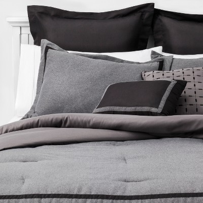 King 8pc Sanford Hotel Comforter Set Gray/Black - Threshold™