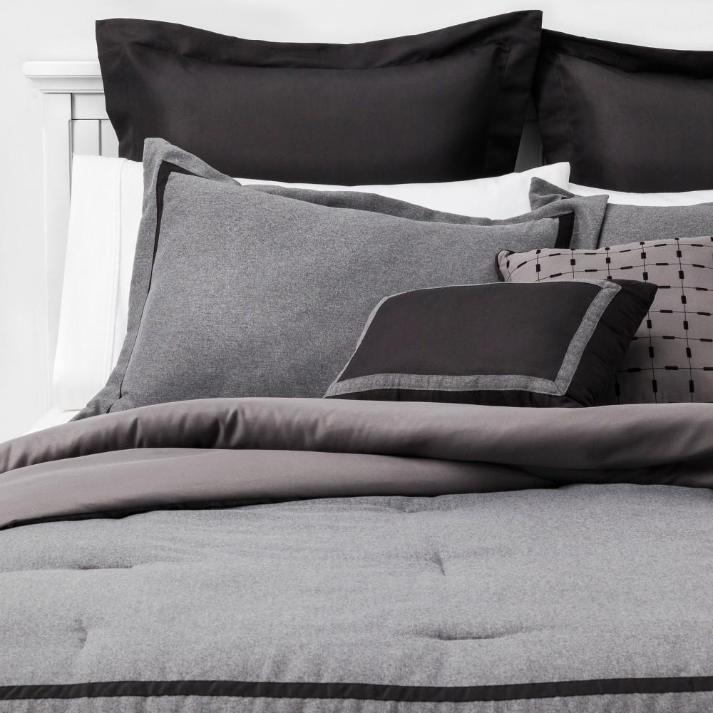 8pc Queen Affina Hotel Comforter Set Gray/Black