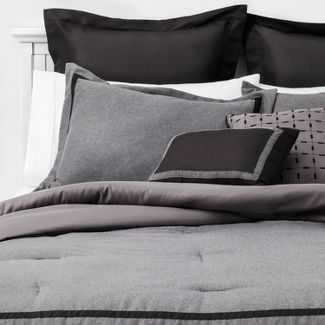 8pc King Affina Hotel Comforter Set Gray/Black