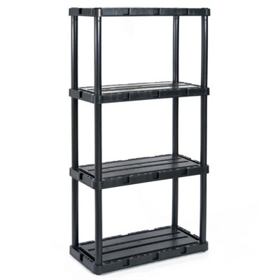 Gracious Living 91089-1C 24 x 12 x 33 Inch Knect A Shelf Fixed Height Light Duty Interlocking Home Garage Storage 4 Shelf Shelving Unit, Black