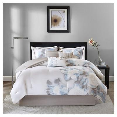 Jasmine 7 Piece Comforter Set- Blue (Queen )