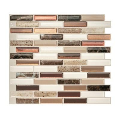 "Smart Tiles 3D Peel and Stick Backsplash 4 Sheets of 10.20"" x 9"" Kitchen and Bathroom Wallpaper Milenza Taddio"