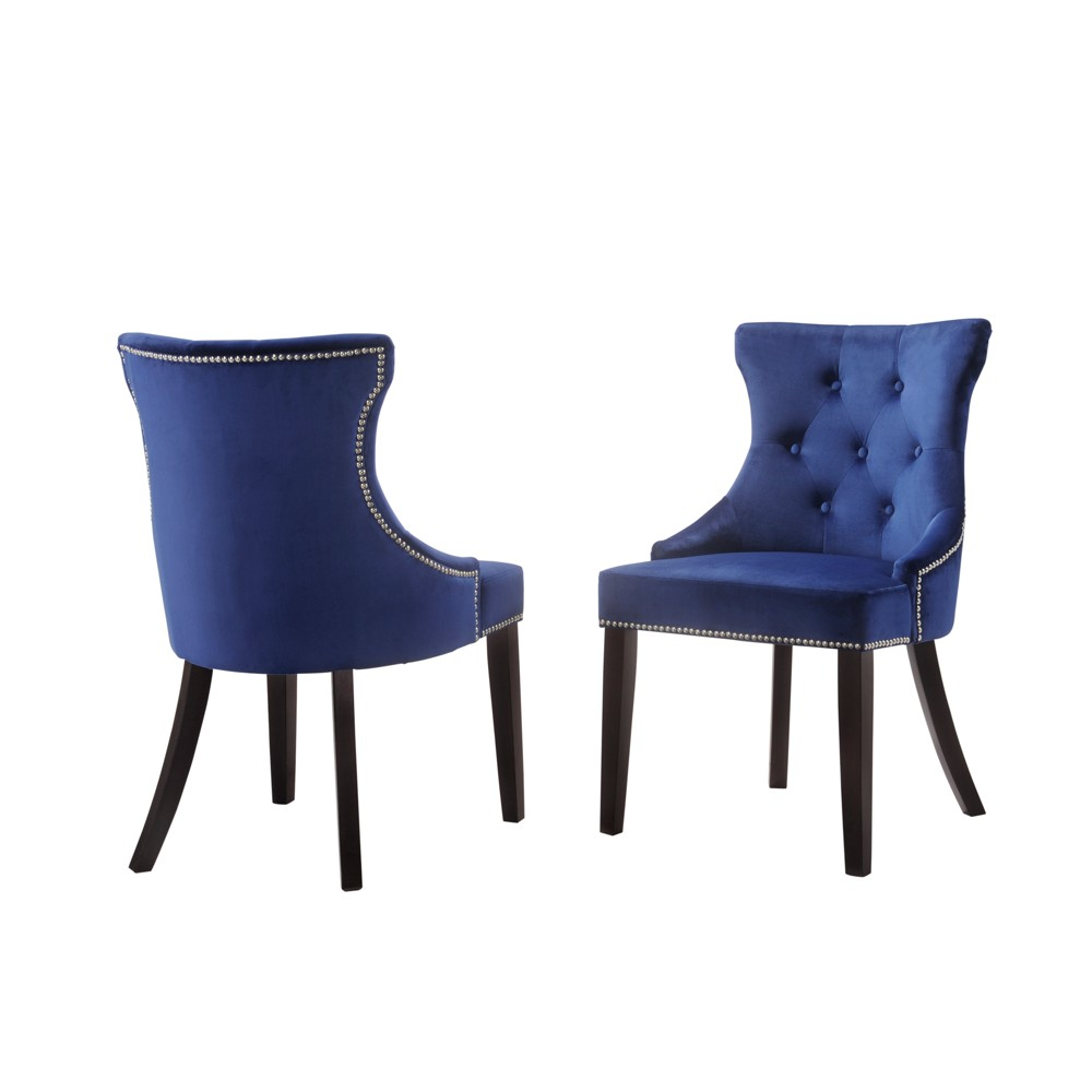 Set of 2 Ella Tufted Back Upholstered Nail Head Chair Espresso/Navy (Brown/Blue) - Carolina Chair & Table